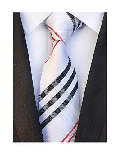 Men's Red Black White Jacquard Woven Bar Silk Ties Evening Married Soft Necktie