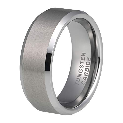 - iTungsten 6mm 8mm Tungsten Rings for Men Women Wedding Bands Matte Finish Beveled Edges Comfort Fit
