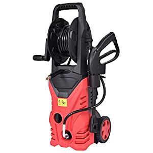 Goplus 2030PSI Electric High Pressure Washer Machine 1.7 GPM 1800W W/ Hose Reel (Red)