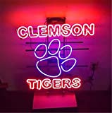 Queen Sense 32''x24'' Clemson Tiger Neon Sign (VariousSizes) Beer Bar Pub Man Cave Business Glass Lamp Light DC365