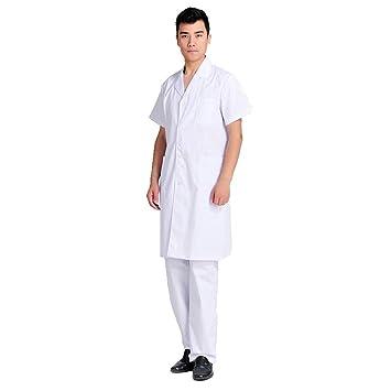 OPPP Ropa médica Bata Blanca médica de Manga Corta Hombres y Mujeres de Manga Corta los médicos Usan Trajes de enfermería Uniformes de clínicas de Farmacia: ...