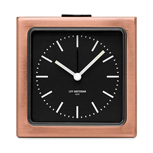 LEFF Amsterdam Analog Alarm Clock Block Copper Bedroom Home Decor (Fluorescent Alarm Clock)