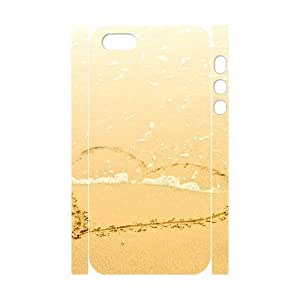 Iphone 5/5S Case 3D, Heart Pattern On The Beach Case for Iphone 5/5S white lm5s177685