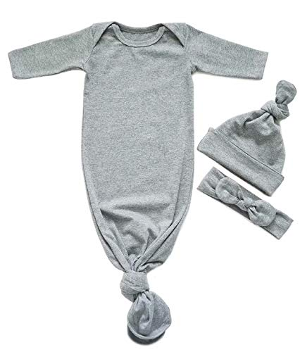 EGELEXY Newborn Baby Sleepy Striped Gown Swaddle Sack Sleepwear Romper Sleeping Bags Headband Cap Size 0-6 Months/70 (Gray) ()