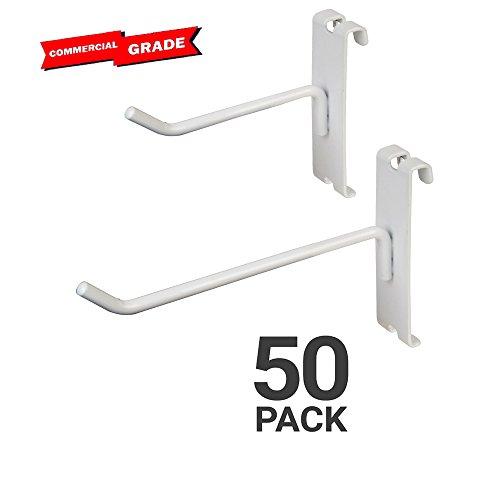 """Only Garment Racks Commercial Grade Grid Panel Hooks - Heavy Duty Gridwall Hooks for Any Retail Display, Assortment Pack of 25 - 4"""" Gridwall Hooks + 25 - 6"""" Gridwall Hooks - (White Finish)"""