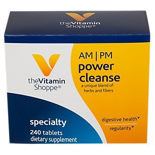 The Vitamin Shoppe AM/PM Power Cleanse A Unique Blend of Herbs Fibers for Digestive Health Regularity No Fasting 1 Kit with 120 Tablets for Each Day Night Set (240 Tablets)
