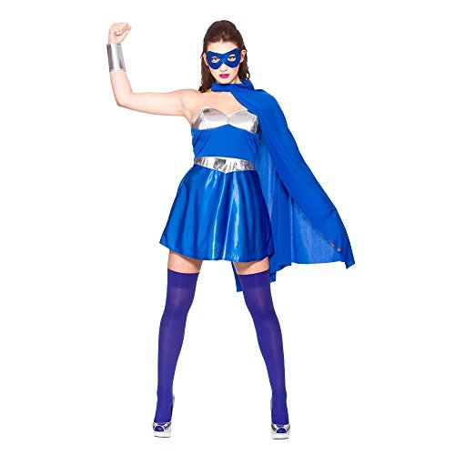 Hot Super Hero - Blue/Silver (M) Fancy Dress (Hot Superhero)