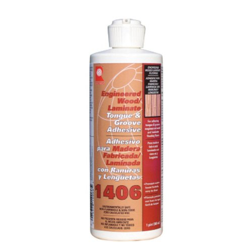 QEP 1406-P Tongue and Groove Adhesive For Laminate and Wood Floors, 1 Pint Bottle - Glue Engineered Floor