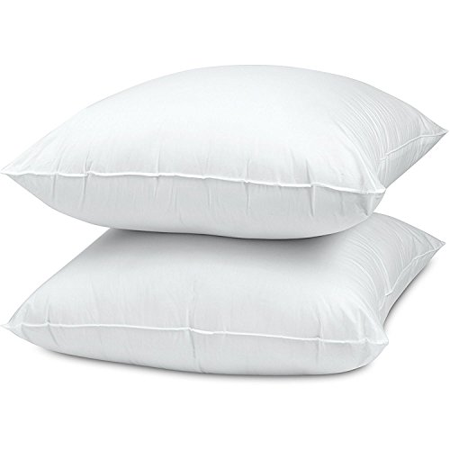 WhiteClassic Down-Alternative Soft Bed Pillows for Sleeping - 100% Cotton Pillow Cover - Hypoallergenic Dust Mite Resistant - No Flattening - Standard Size - 2-Pack
