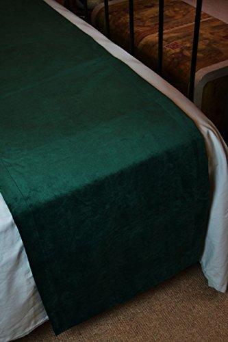 McAlister Textiles Matt Velvet | Decorative Bed Runner in Emerald Green | King Size 20x100 Inches | Lush, Plush & Soft Classic Modern Accent Décor