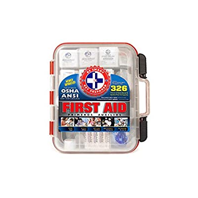 First Aid Kit Hard Red Case 326 Pieces Exceeds OSHA and ANSI Guidelines by Omar