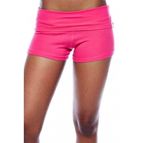 ACTIVE BASIC Women's Yoga Shorts Fold Over Waist Band (Large, Fuschia)