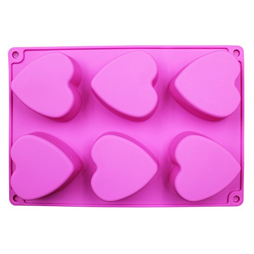 (Handmade Soap Mould 6 Lattices Love Heart Rose Round Shape Silicone Cake Mold Chocolate Molds Flower Rose Design)