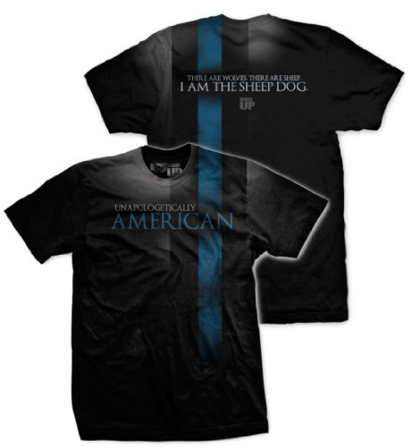 Thin Blue Line / Sheep Dog T-shirt from Ranger up for Law Enforcement, Black XX-Large