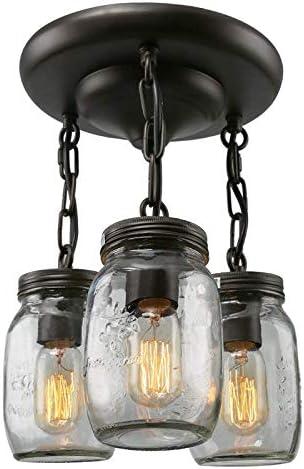 Lustre bouteille de verre vintage bocal en verre 3 lumière
