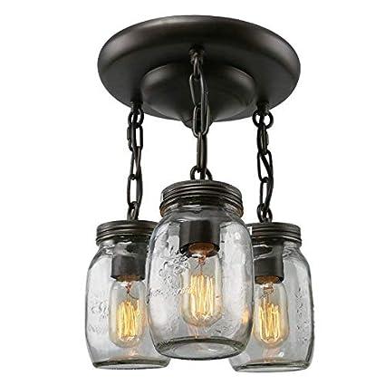 LWDMLSH Negro 3 Luces Araña de Botellas de Vidrio Vintage Frasco de Vidrio Lámpara Colgante de