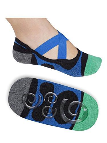 Lupo Women's Heel N Toe Yoga Barre Pilates Grip Socks, One-Size Blue Black