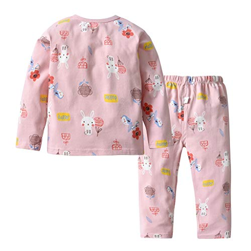 Qpika Toddler Kids Baby Girls Pjs Cartoon Pink Bunny Printed 2PCS Sleepwear Tops +Pants Outfits -