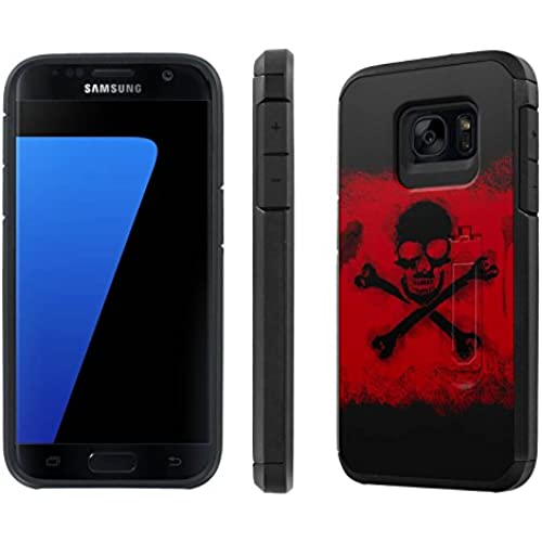 Galaxy [S7] [5.1 Screen] Defender Hybrid Case [SlickCandy] [Black/Black] Dual Layer Protection [Kick Stand] [Shock Proof] Phone Case - [Cross Skull] for Samsung Sales