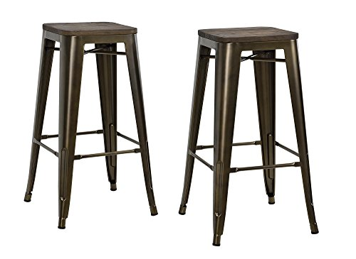 Wood Bronze Stool Bar Finish (DHP Fushion Metal Backless Bar Stool with Wood Seat, 30