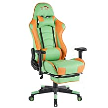Top Gamer Ergonomic Racing Gaming Chair PC Computer Game Chairs with Footrest(Green/Black)