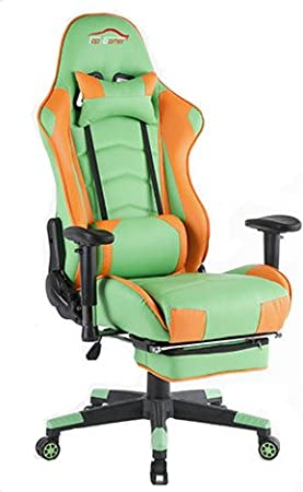 Top Gamer- Silla para ordenador con reposapies, altura ajustable, cuero sintético, Green+Orange: Amazon.es: Hogar