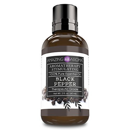 Amazing Aroma Black Pepper Essential Oil 2 Oz. Bottle 100% Pure, Undiluted Therapeutic Grade Oils Great For Aromatherapy Stimulating Massages & For Aromatherapy Diffusers (Pepper Oil)