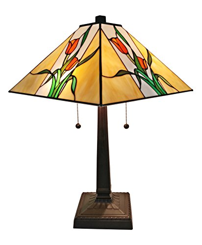 Amora Lighting AM200TL14 Tiffany Style Floral Mission Table Lamp, - Co Tiffany And Amazon