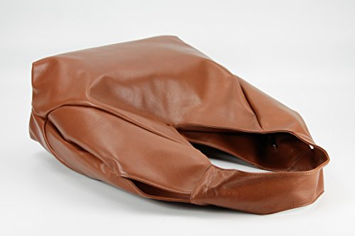 Belli® Bellissima Sac à main en cuir nappa TailleXL (lxhxp): 34x23x17cm Marron cognac