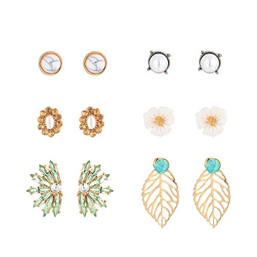- LILICHIC 6Pcs Elegant Flower and Leaf Earrings Set, Fashion Charm Acrylic Alloy Earrings Studs for Women and Girls