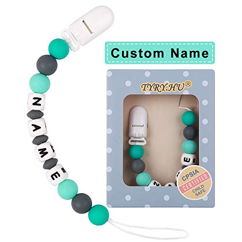 Personalized Pacifier Clips TYRY.HU Silicone Teether Toys Holder Chain for Baby Boys Shower Gift (Green)