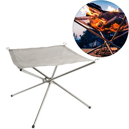 Cusfull Folding Burning Furnace Foldable Firewood Burning Stand Stainless Steel Grill Fireplace Fire Pit Outdoor