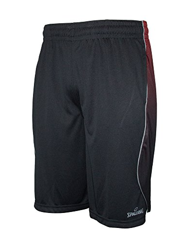Spalding Mens Active Performance Athletic Workout Shorts with Reflective & 2 Side Seam Pockets Black & Red Large