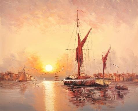 'Wall Sunset Seascape With Sailing Ships' Oil Painting, 24x30 Inch / 61x76 Cm ,printed On High Quality Polyster Canvas ,this Cheap But High Quality Art Decorative Art Decorative Canvas Prints Is Perfectly Suitalbe For Bar Gallery Art And Home Decor And Gifts (Base Drum Harness compare prices)
