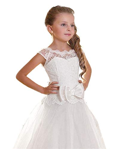 (Edooli Flower Girl Dresses Girls White Dress First Communion Dresses for Wedding Size 4)