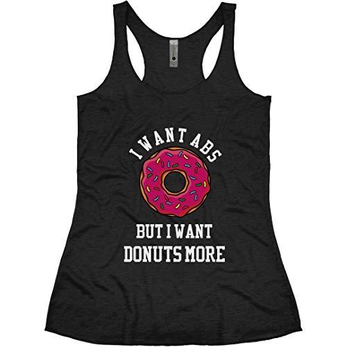 Donuts Over Abs: Ladies Slim Fit Racerback Triblend Tank Vintage Black (Best Donuts In Columbus)