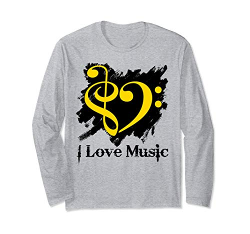 Treble Clef Bass Clef Yellow Heart Grunge Brush Strokes Bassist Long Sleeve T-Shirt