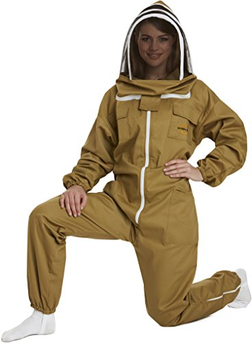 NATURAL APIARY - Apiarist Beekeeping Suit - Khaki - (All-in-One) - Fencing Veil - Total Protection for Professional & Beginner Beekeepers - Large by Natural Apiary