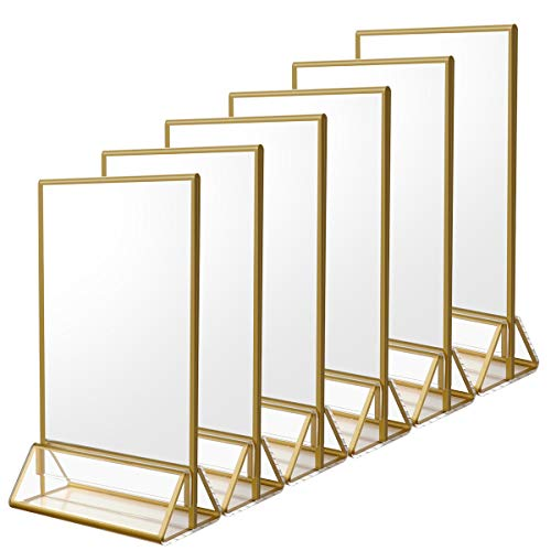 Cheap Gold Frames (NIUBEE 6Pack 4 x 6 Clear Acrylic Sign Holder with Gold Borders and Vertical Stand, Double Sided Table Menu Holders Picture Frames for Wedding Table Numbers, Restaurant Signs, Photos and)