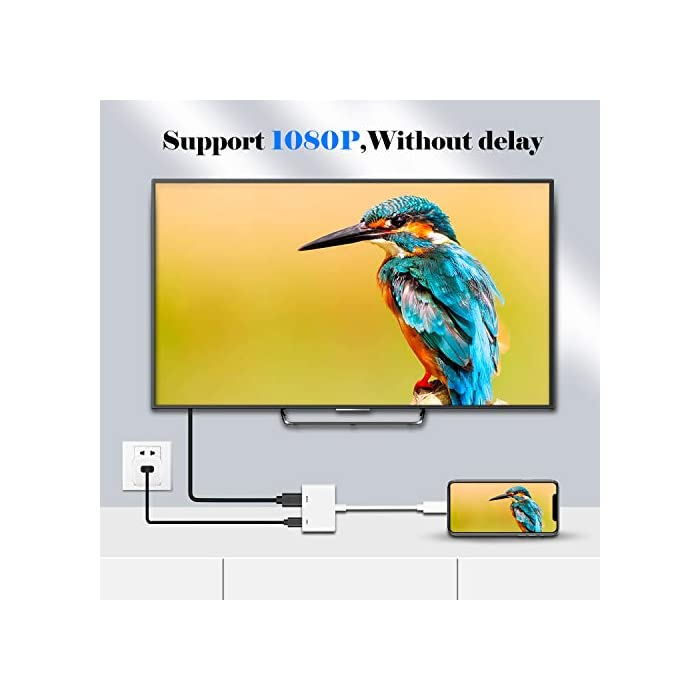 41AdyIxs SL Haz clic aquí para comprobar si este producto es compatible con tu modelo ENCHUFE Y REPRODUCCIÓN: el adaptador de cable HDMI admite la duplicación de su teléfono / teclado, incluidos videos, aplicaciones, presentaciones, sitios web y presentaciones de diapositivas. Si conecta cada interfaz al dispositivo correspondiente, la conexión se establece automáticamente. Adaptador AV HDTV FULL 1080P EDICIÓN : Películas, programas de TV, grabaciones de video en pantallas grandes en hasta 1080P HD. Ofrece una experiencia visual ultra clara a una velocidad excesiva.