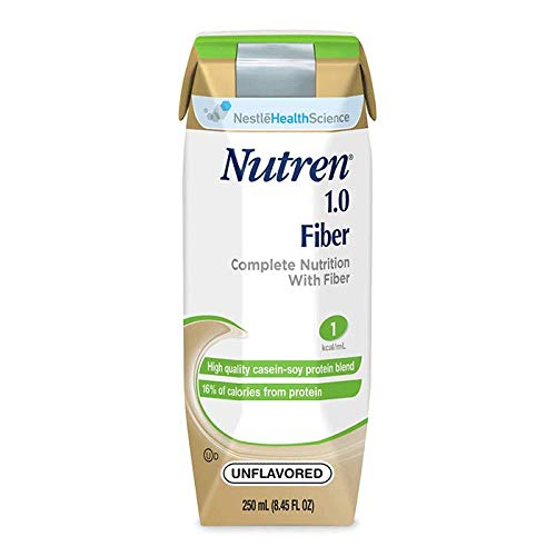 Nutren 1.0 with Fiber, Unflavored (Formerly Vanilla) 250 ml., 1 Cal Formula w/ Prebio - Case of 24 by Nutren
