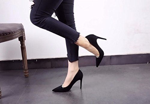 Shoes Pointed Work 36 Heel MDRW Women'S Drill 10Cm Heels Lady Elegant Fine Elegance Single Suede Temperament Spring Leisure Black Shoes Water pw84UwqCx