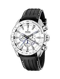 Festina Men's Crono F16489/1 Black Leather Quartz Watch with White Dial