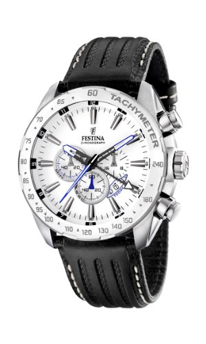 Festina Men's Stainless Steel White Dial Black Strap Chronograph Watch F16489/1