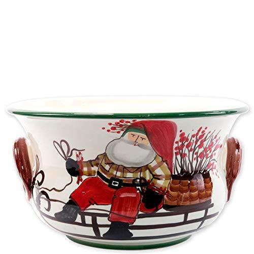 Vietri Old St. Nick Footed Round Cachepot, Ceramic Stoneware Handpainted w/Santa On His Sleigh