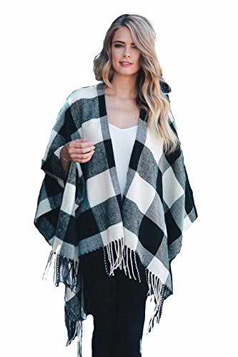Endless Envy Buffalo Plaid Poncho Wrap Blanket Sweater (White) (Plaid Poncho)