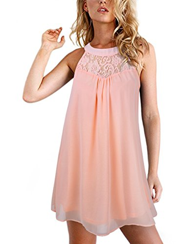 Le Top Pink Dress (Faddare Mini Chiffon Dress,Chiffon Beach Dresses,Lace Splicing Clothes,Pink L,Pink,Large)