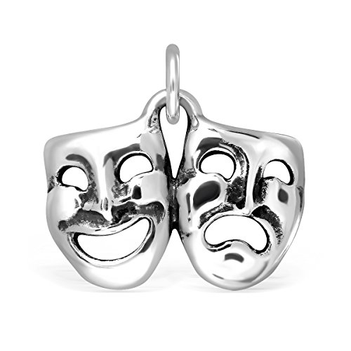 925 Sterling Silver Orleans Mardi Gras Smile Sad Drama Mask Comedy Tregedy Face - Mask Comedy Mardi Gras