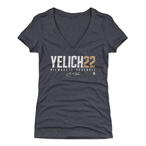 500 LEVEL Christian Yelich Women's V-Neck Shirt XX-Large Tri Navy - Milwaukee Baseball Women's Apparel - Christian Yelich Yelich22 W ()