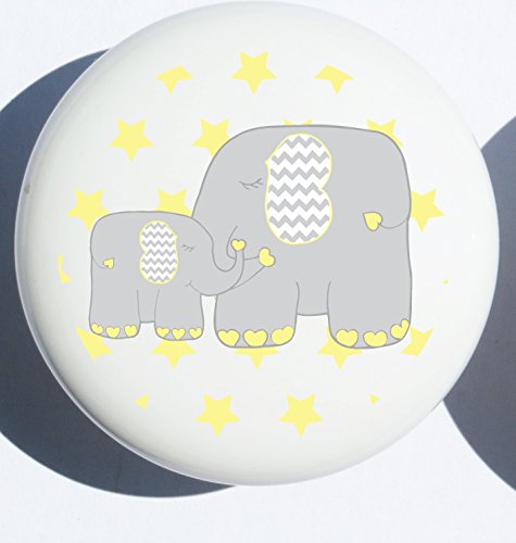 - Single Yellow Elephant Drawer Pull Knob/Mother and Baby Elephant Cabinet Handles Nursery Decor